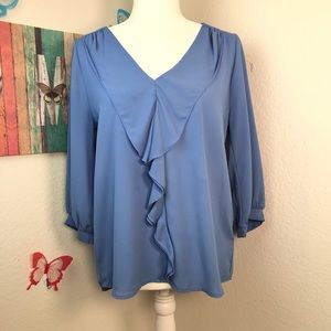 Dina be blouse size medium ruffle around neckline